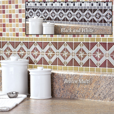 Diamond Tile Peel & Stick Backsplash Border Set