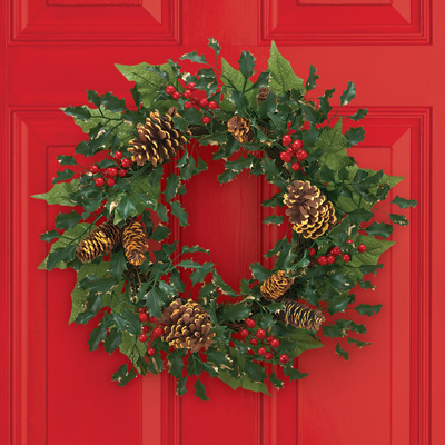Elegant Holly & Pinecone Christmas Wreath