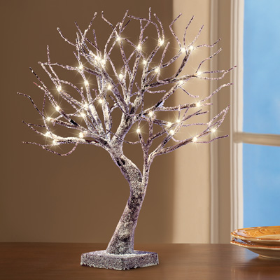 Frosted LED Lighted Tabletop Tree