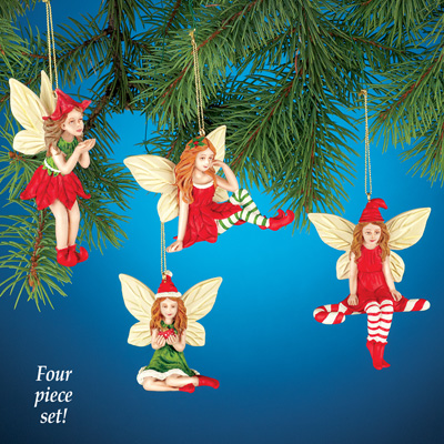 Set of 4 Fairy Christmas Ornaments