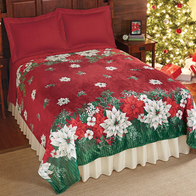 Poinsettia Fleece Christmas Throw Blanket