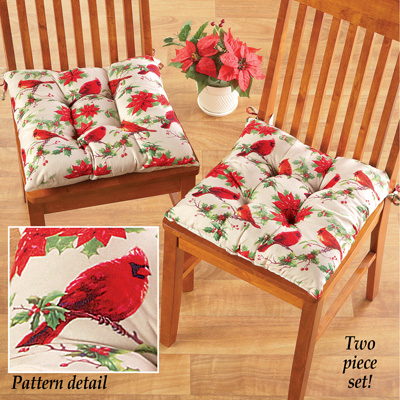 cardinal christmas kitchen chair cushions