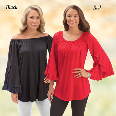 Convertible Off the Shoulder Bell Sleeve Top