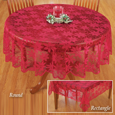 Poinsettia Red Lace Christmas Tablecloth