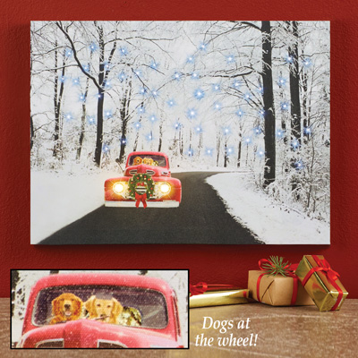 Driving Dogs Winter Scene Lighted Wall Canvas