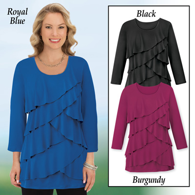 Ruffle Front Long Sleeve Top