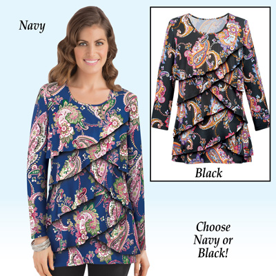 Paisley Ruffle Front 3/4 Sleeve Top