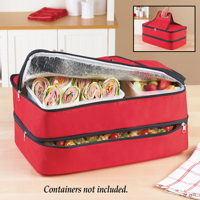 Insulated 2-section Carrying Food Tote with Handle