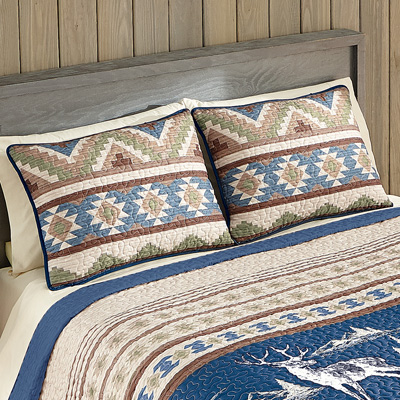 Etched Deer Aztec Cabin Pillow Sham