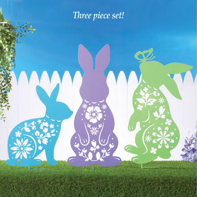 Floral Cut Out Bunny Garden Stakes   Set Of 3