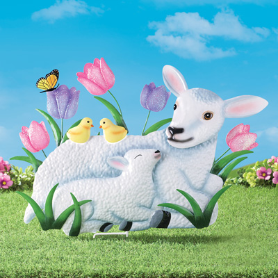 Easter Lamb Outdoor Decorative Stake