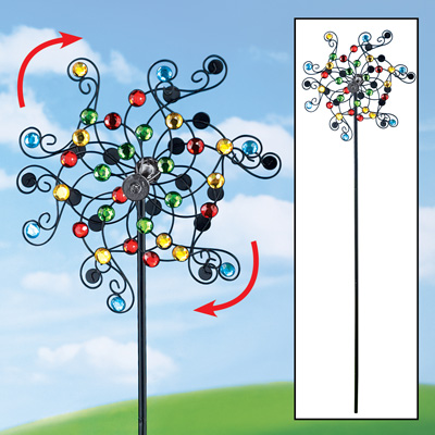 Mirrored Kinetic Wind Spinner Garden Stake