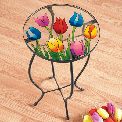 Tulip Glass Accent Table