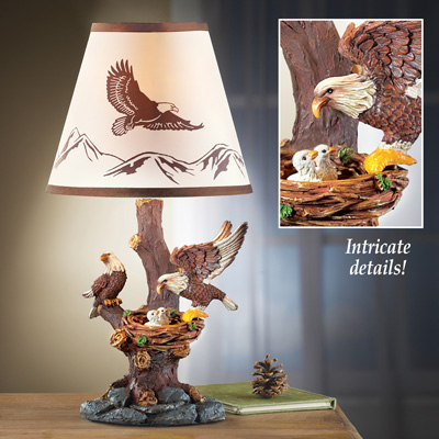 Sculpted Eagle Family Table Lamp