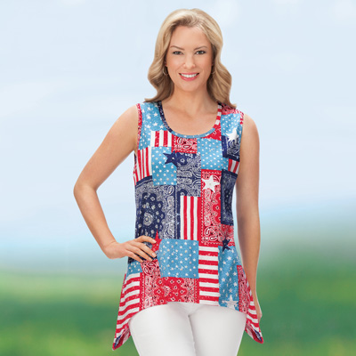 Americana Patchwork Sequin Tank Top