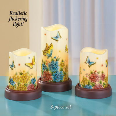 Butterfly Garden LED Candles - Set of 3