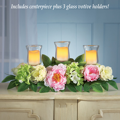 Peony Garden Votive Candle Holder Centerpiece