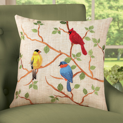 Birds on Branches Embroidered Accent Pillow Cover