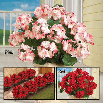 Artificial Begonia Flower Bushes, Set of 3