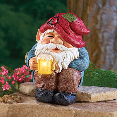 Happy Hour Beer Mug Solar Gnome Statue
