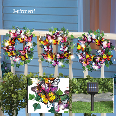 Solar Lighted Butterfly Wreaths - Set of 3