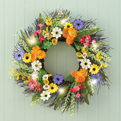 Colorful Daisy Front Door Wreath with Lights