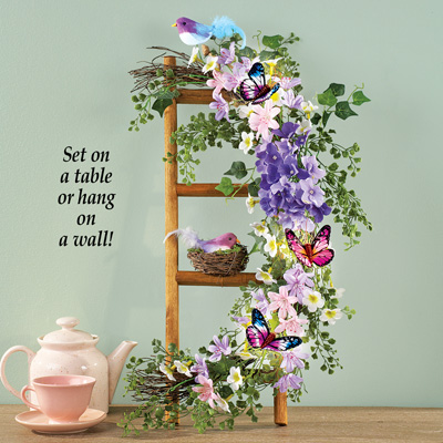 Floral Garland on Ladder with Bird Nest