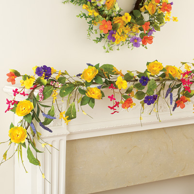 Yellow Rose Wildflower Floral Garland