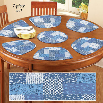 Blue Quilted Patchwork Placemat Set