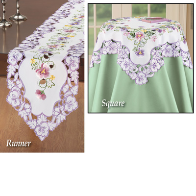Elegant Pansy Floral Table Linens