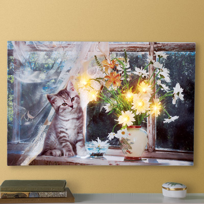 Cat on Windowsill Lighted Wall Canvas Art