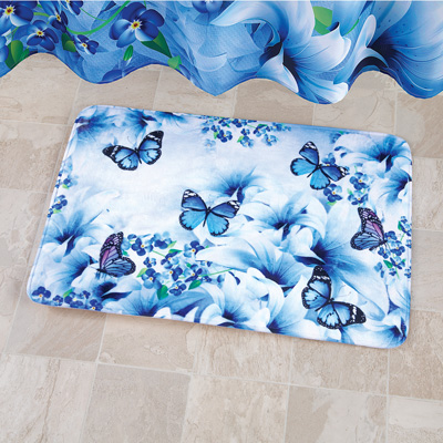 Blue Butterfly Garden Soft Bath Rug