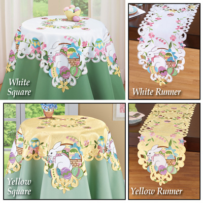 Easter Bunny and Basket Table Linens