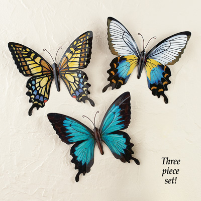 Metal Butterfly Wall Art, Set of 3
