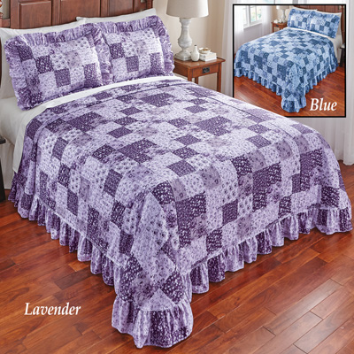 Country Wildflower Patch Plisse Bedspread