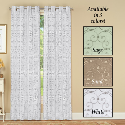 Elegant Embroidered Scroll Curtain Panel