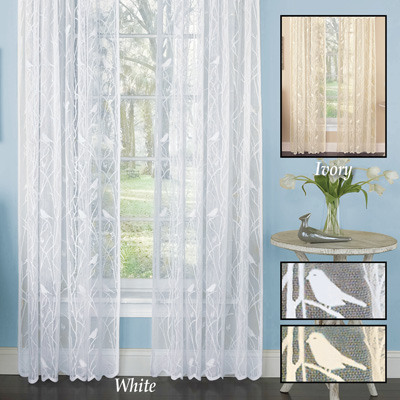 Songbird Lace Curtain Panel with Scalloped Hem