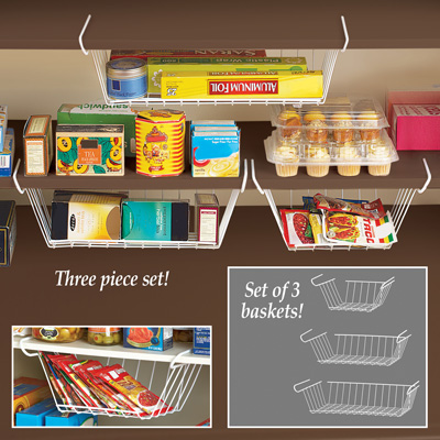 Under Shelf Wire Storage Baskets - Set of 3