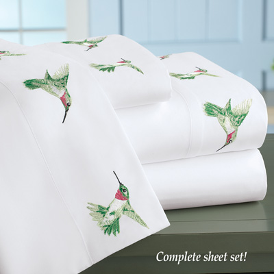 Hummingbird Embroidered Bed Sheet Set
