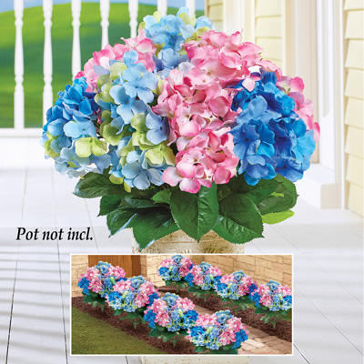 Artificial Hydrangea Bush Picks, Set of 3
