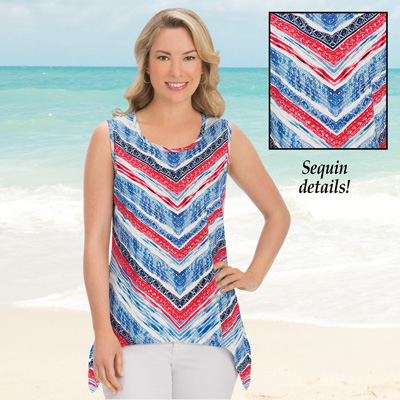 Red, White, Blue Chevron Sharkbite Tank Top