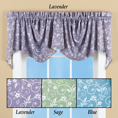 Floral Scroll Draped Window Valance