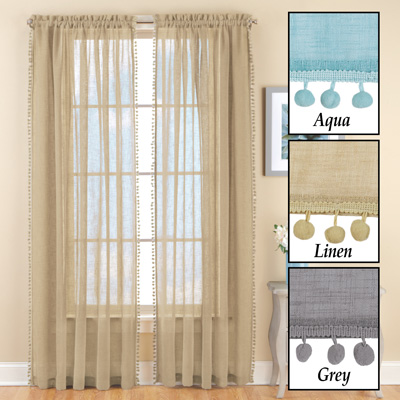 Wallace Pom-Pom Linen-Like Curtain Panel