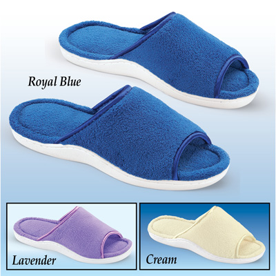 Cushioned Open Toe Terry Slippers