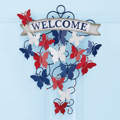 Patriotic Butterfly Metal Welcome Sign Wall Decor
