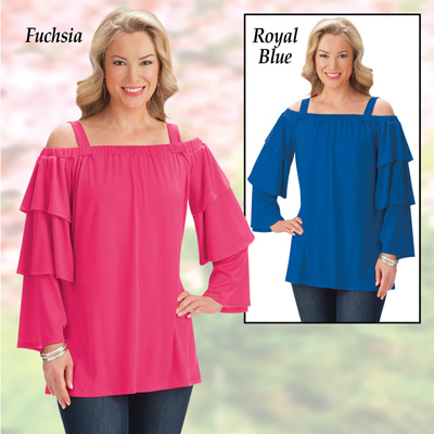 Tiered Sleeve Off-The-Shoulder Top