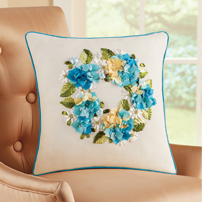 Blue Floral Wreath Ivory Accent Pillow