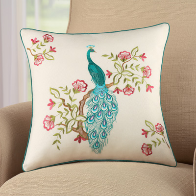 Embroidered Peacock Throw Pillow