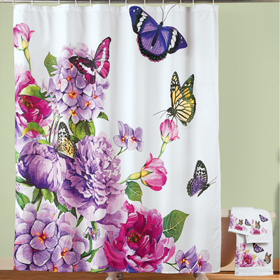 Butterfly Watercolor Floral Shower Curtain