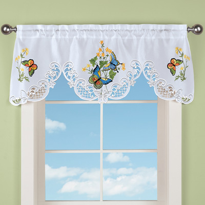 Embroidered Butterfly Window Curtain Valance